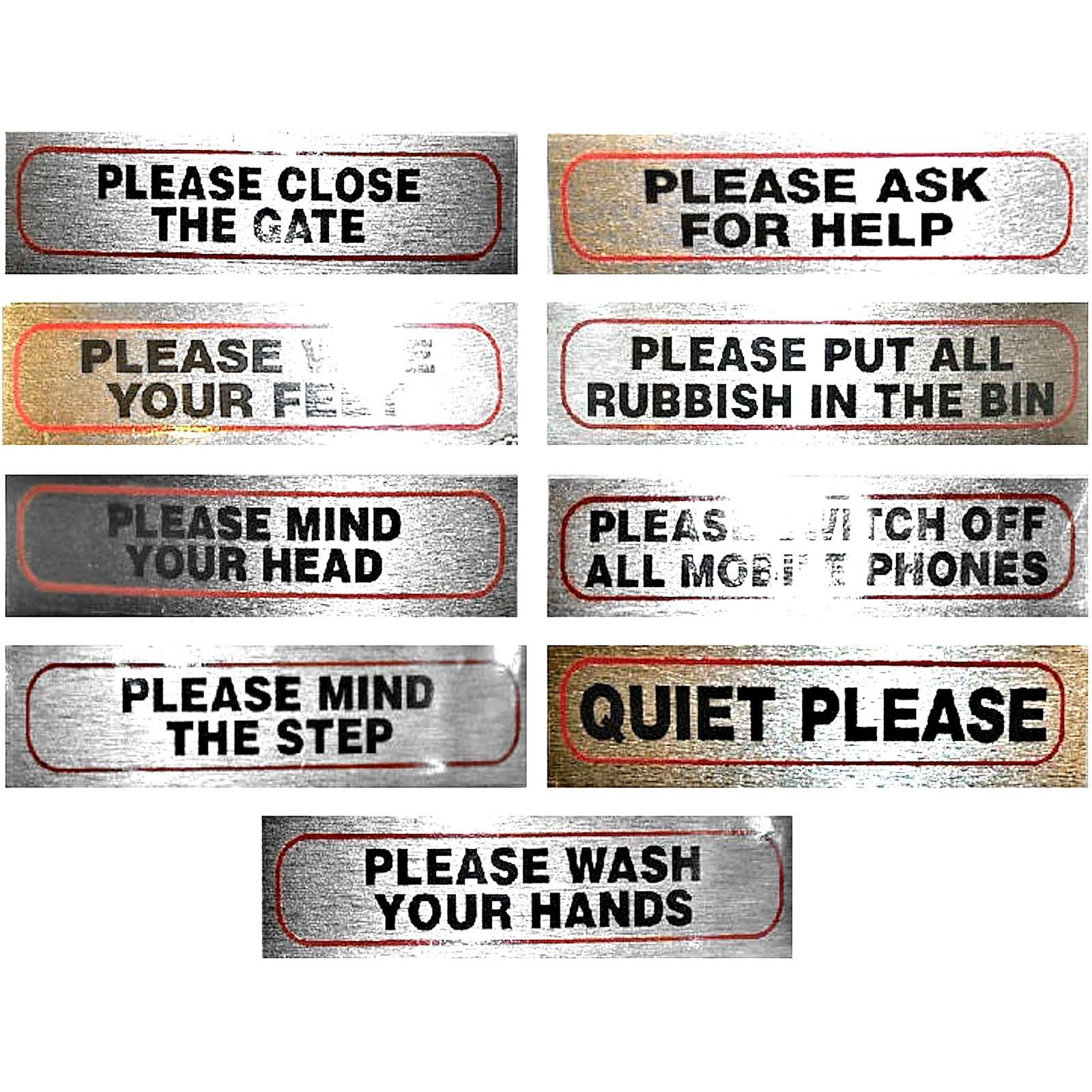 PLEASE SIGNS for home office or business 17cm X 4cm